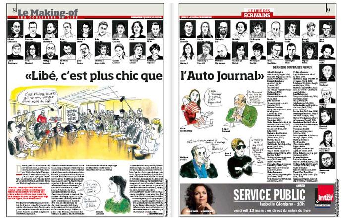 Catel - La double page dans Liberation
