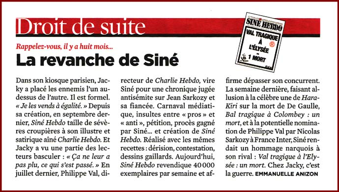 Article de Télérama sur les vente de Siné Hebdo et Charlie Hebdo