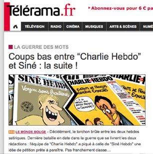 """Telerama - """"Coups bas entre """"Charlie Hebdo"""" et Siné : la suite !"""