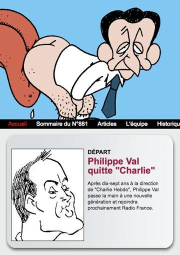 Val quitte Charlie hebdo - Annonce sur le site de Charlie Hebdo