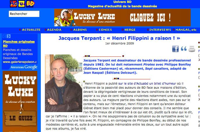 Capture d'écran du site Actua BD.
