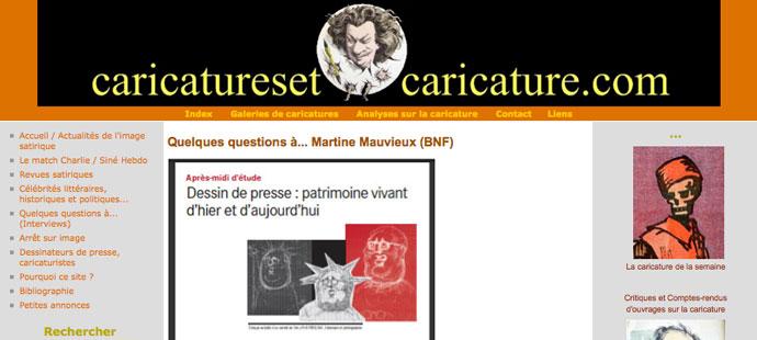 Capture d'écran du site Caricatures et Caricature.